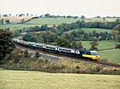 Armathwaite Settle and Carlisle Line. specially chartered HST on its return trip over the S and C Line. 24.10.1981.