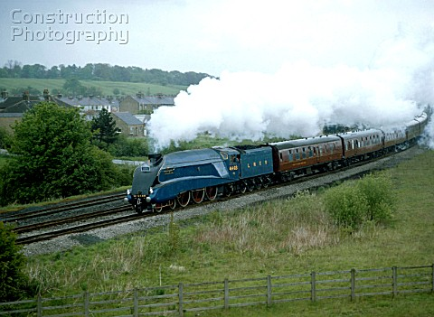 Birdwatch Europe Express No4468 Mallard leaves Skipton en route from York to Carnforth 16th May 1987